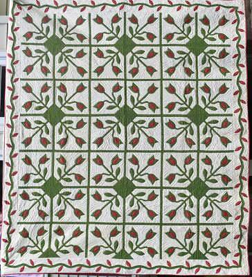Antique Red and Green Tulip Applique Quilt  With Vine Border #18093