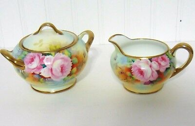 Nippon Hand Painted Rose Floral & Gold Creamer & Sugar Dish with Lid 1930's