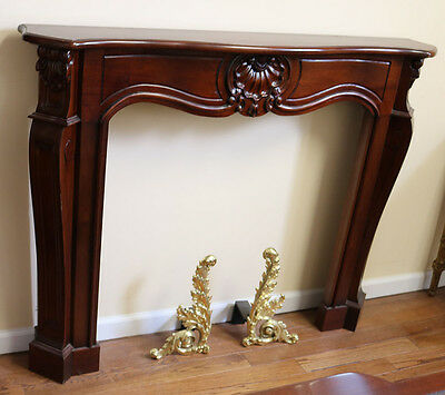 Gorgeous French Rococo Style Solid Mahogany Fireplace Mantle Mantel Good Size