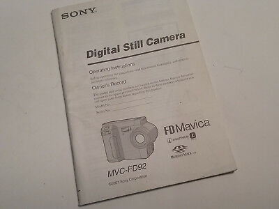 Vintage Sony Mavica Digital Still Camera MVC-FD92 Manual