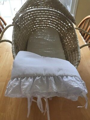 Moses Basket with Hood and Bedding, Natural/White, Bassinet