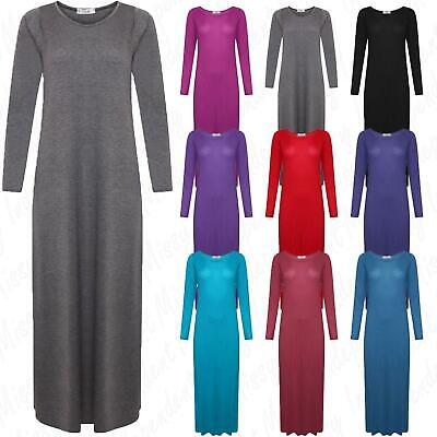 Womens Ladies Long Sleeve Stretchy Plain Flared Long Jersey Maxi Dress 8-26