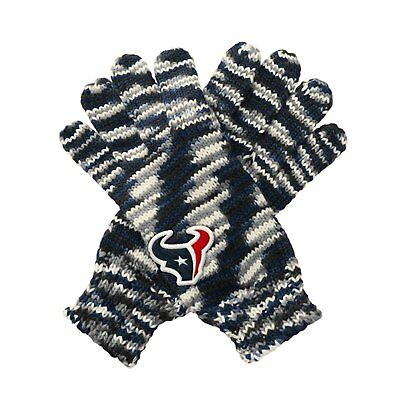 "TWO PAIRS of Houston Texans ""Gloves Off' Space Dye Striped Logo Gloves, One Size"