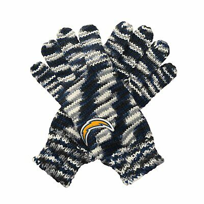 "TWO PAIRS of Los Angeles Chargers ""Gloves Off' Space Dye Striped Logo Gloves"
