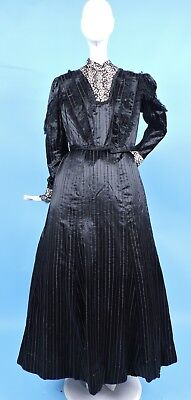 Gothic Victorian 1890'S 3 Pc High Shine Striped Silk Satin Dress W Lace Trims
