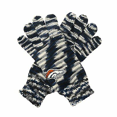 "TWO PAIRS of Denver Broncos ""Gloves Off' Space Dye Striped Logo Gloves, One Size"