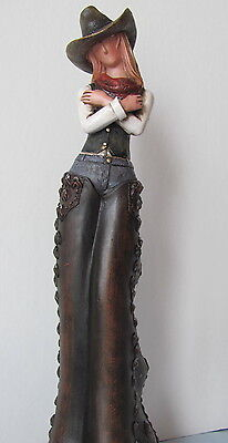 Rugged Cowgirl Resin Sculpture 12 Inches Tall!
