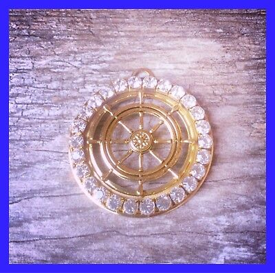 Old Stock Vintage New Large Ship Wheel With Crystals Pendant Detailed