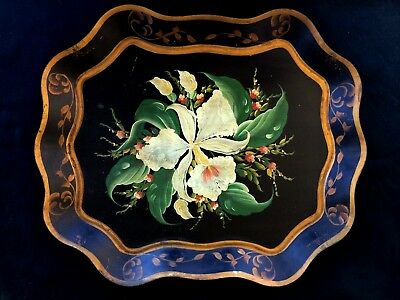 Gorgeous Tole Tray Hand Painted Toleware Vintage Decorator Flowers Floral