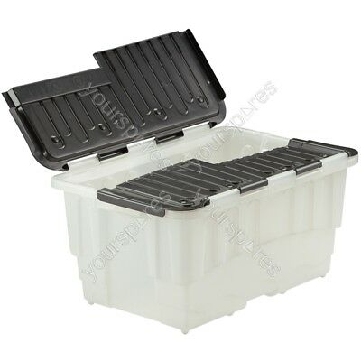 Strata Duracrate Storage Boxes - Clear & Black - 40 Litre - Pack of 5
