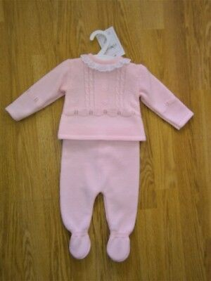 Baby Girl Clothes Spanish Romany Style 2 Piece set Knitted Pink 0-3m 3-6m 6-9m