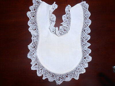 Antique White Baby Bib With Bobbin Lace Trim, Vintage 1920