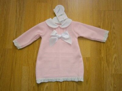 Baby Girl Clothes Spanish Romany Style Dress  Bow Knitted Pink 0-3m 3-6m 6-9m