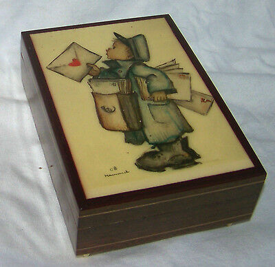 "Vintage HUMMEL Postal Carrier Music Box 4.5""x5.75"" Md in Italy,Reuge SwissMvmt"