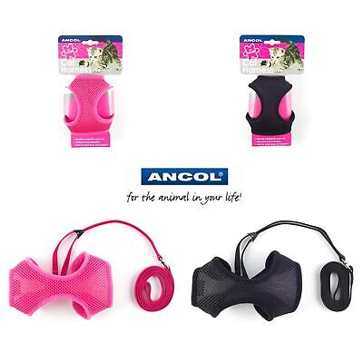 Ancol Cat Kitten Pet Soft Mesh Harness & Lead Black Pink Free UK P&P