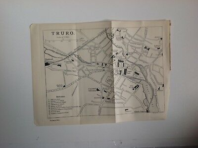 Truro Street Plan, 1902 Antique Map, Bartholomew, Original