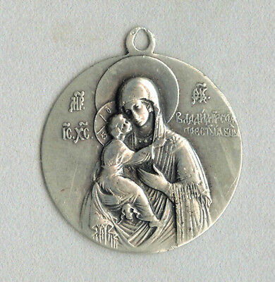 R!! Vintage Russian 84 silver Vladimir Holy Mother of God icon pendant medallion