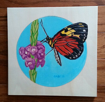 Butterfly 1, Flower, Garden, Original Acrylic Painting on Wood, Signed, Art Deco