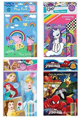Colouring Book Activity Play Packs 2 Pads & Pencils Over 30 Pages Boys Girls