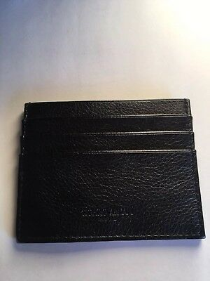 Authentic ARMANI Card Case Print Leather Ladies Men 5 slots New