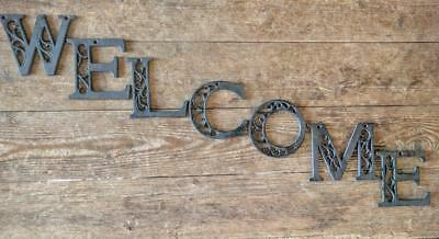 Cast Iron Word WELCOME *7 Letters* Scroll Rustic Brown Metal Signs Vintage Style
