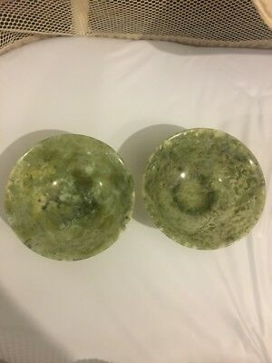 Pair of Spinach Jade Libation Cups Teacup Sake Jadite Translucent.