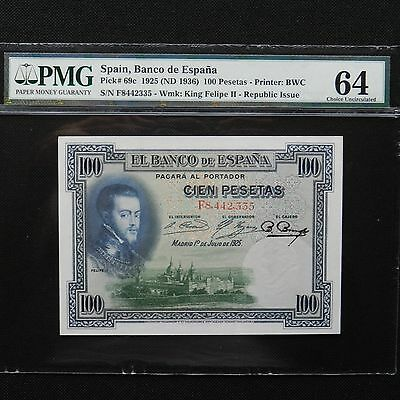 Spain 1925 (ND 1936) 100 Pesetas, Pick 69c, PMG 64 Choice Unc