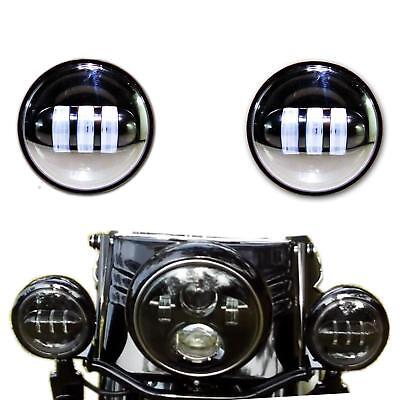 "Passing Lights 30w 4.5"" Spot pair Black Suit all Harley Touring & Flst Models wi"
