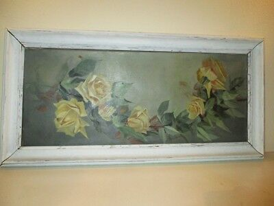 SHABBY CHIC Vintage Original 1930s  GARLAND OF YELLOW ROSES Framed Oil Painting