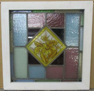 "OLD ENGLISH LEADED STAINED GLASS WINDOW Pretty Handpainted Floral 21.5"" x 21.5"""