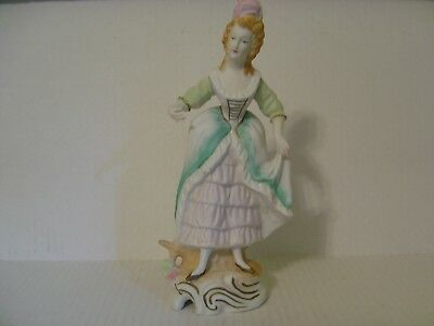 Vintage Bisque Porcelain Victorian Colonial Lady Figurine Made In Occupied Japan