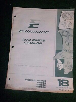 1970 OMC Evinrude Outboard Parts Catalog Manual 18 HP Fastwin Final Edition