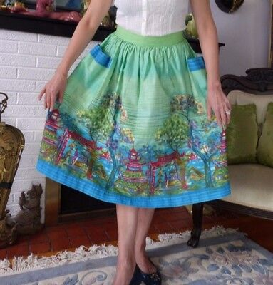 Vintage 1950s 50s Novelty Asian Print Cotton Skirt