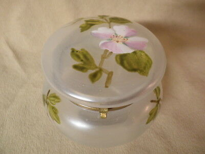 Antique Trinket Box Satin Glass With Enameled Flowers & Leaves  Great Condition