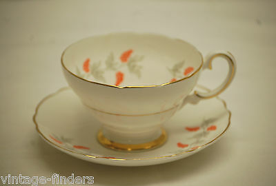 Old Vintage Crown Staffordshire CRS2 Pattern Footed Cup & Saucer Set ~ England