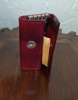 Vintage Buxton Burgundy Pebbled Leather Key Tainer Case 6 Loop Wallet New