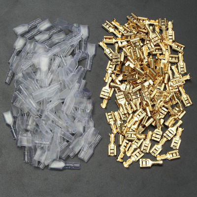 200x  Clear Insulated Female Electrical Spade Crimp Connectors Terminals 6.3mm