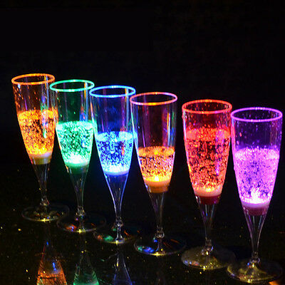 6Pcs LED Champagne Wine Flute's Light Up Glasses Lighting Cups Bar Wedding Party