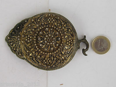 RARE ANTIQUE OTTOMAN ERA SILVER BELT BUCKLE 1850 s HAND MADE  Filigree Gilded