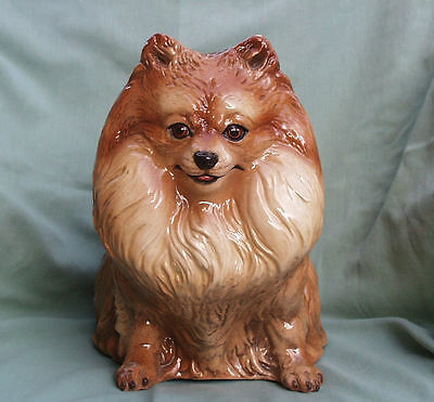POMERANIAN DOG LIFE SIZED STUDIO ITALIAN CERAMIC SCULPTURE c1950's