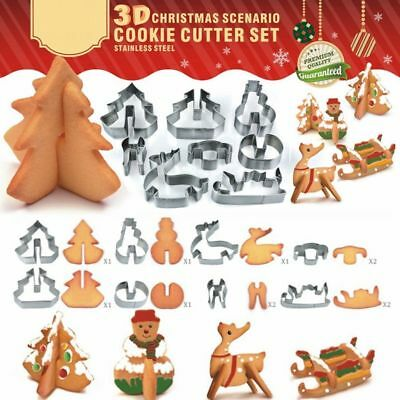 8Pcs Stainless Steel 3D Christmas Biscuit Pastry Cookie Cutter Cake Baking Mold