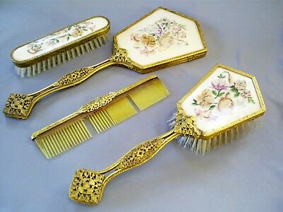 1930s VINTAGE ORMOLU BRASS/PETIT POINT EMBROIDERY SET 2 BRUSHES/MIRROR/COMB