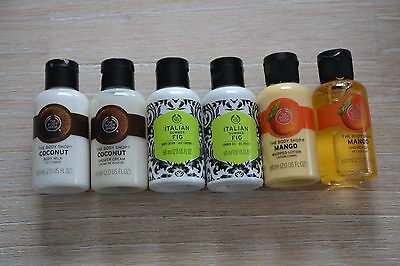 X 6 The Body Shop Shower Gel and Body Lotion - Travel Size 60ml