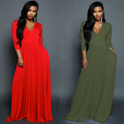 347deb8a966dc Womens Summer Long Maxi Dress Long Sleeve Evening Cocktail Party Casual  Sundress