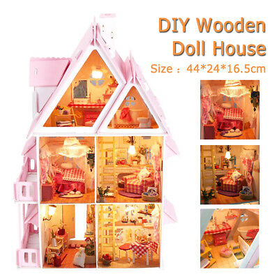 Large Wooden Play Dollhouse Mansion Furniture Kids Girls Doll House Barbie Kit