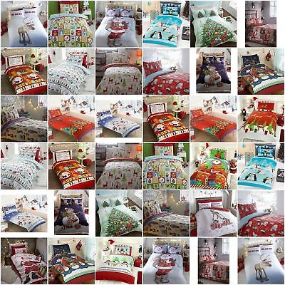 Christmas 2017 NEW Bedding Duvet Cover Bright Colourful Festive Xmas Santa