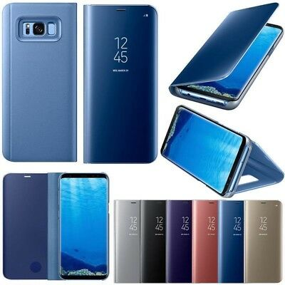 New Samsung Galaxy S7 S8 S9 Plus Smart View Mirror Leather Flip Stand Case Cover