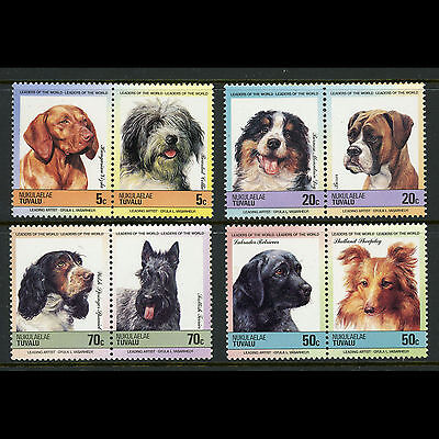 TUVALU Dogs. Animals. 4 Pairs (8 Values). Mint Never Hinged. (AT214)