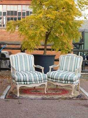 A Good Pair Of Vintage And French Antique Provincial Styled Chairs Armchairs