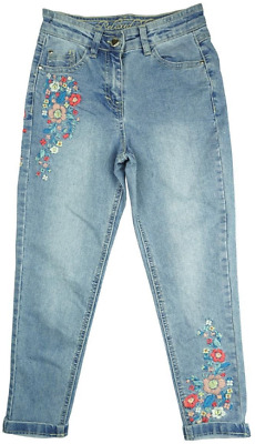 New George Girls Embroidered Floral Detail Skinny Relaxed Fit Denim Jeans 5-12